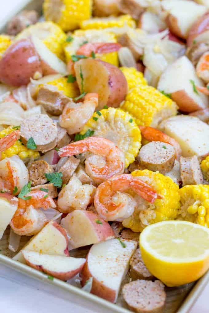 Shrimp Boil sprinkled with shrimp boil seasoning served on giant tray