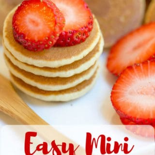 Mini Pancakes, sometimes called Silver Dollar are the easiest quickest little pancake bites that are perfect for parties, brunches, kids and pancake kabobs! dinnerthendessert.com