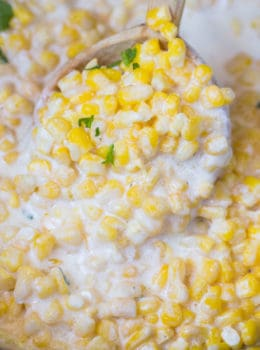 Slow Cooker Creamed Corn is super creamy, made with just a few ingredients and it won't take up any oven space or active cooking time when you're busy preparing for the holidays!
