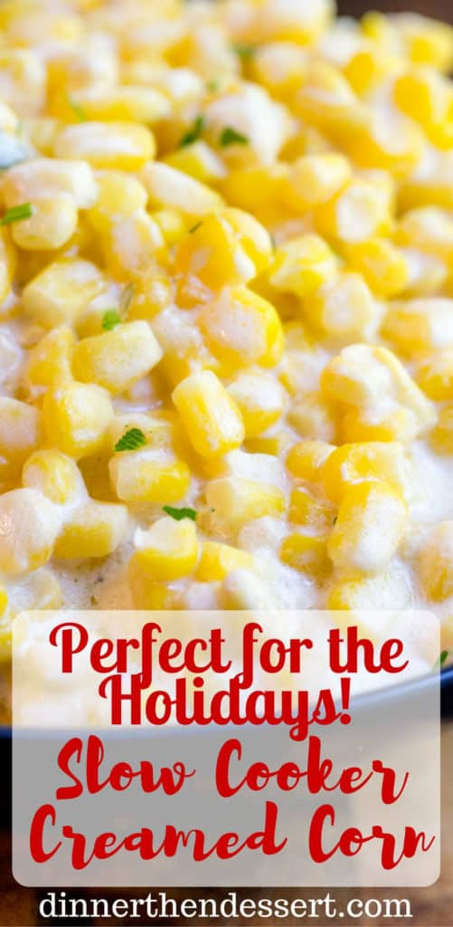 Slow Cooker Creamed Corn is super creamy, made with just a few ingredients and it won't take up any oven space or active cooking time when you're busy preparing for the holidays! dinnerthendessert.com
