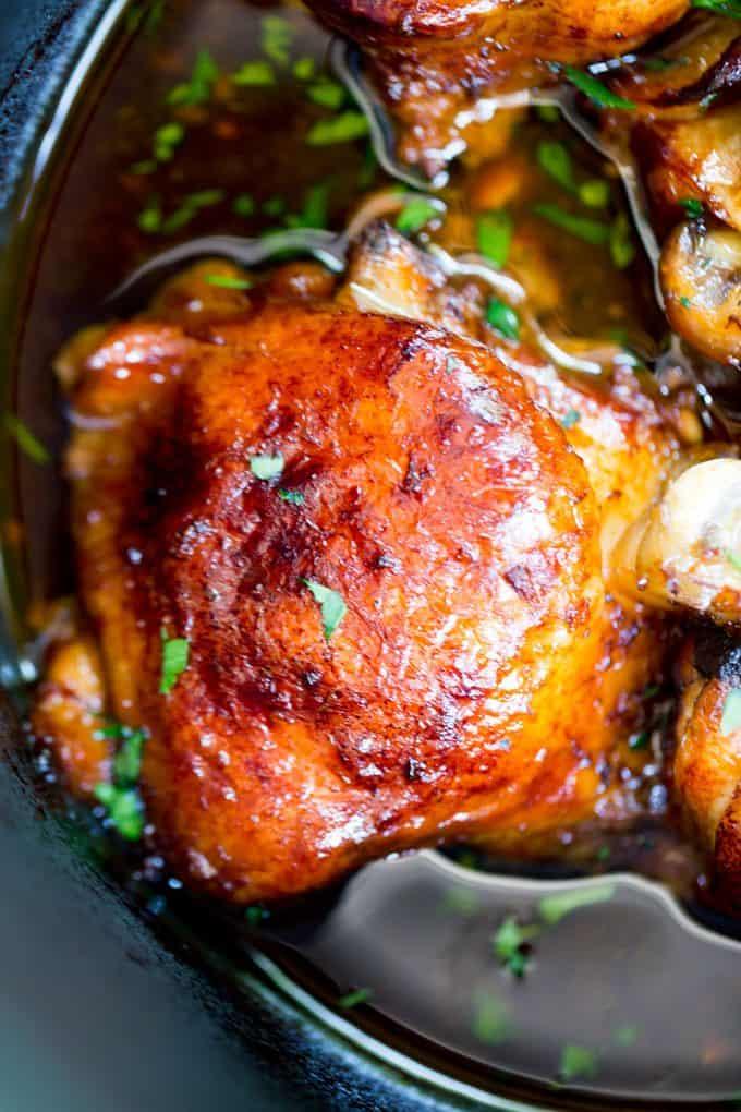 Slow Cooker Honey Garlic Chicken - Dinner, then Dessert
