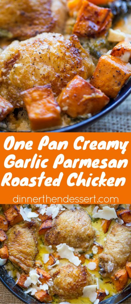 Creamy Garlic Parmesan Roasted Chicken and Sweet Potatoes and Spinach made in one pan and in less than 45 minutes so you can enjoy it during the week as the weather cools down.