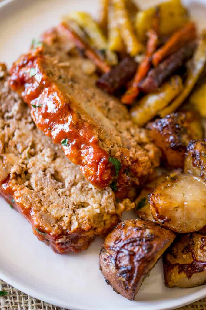 Sliced Brown Sugar Meatloaf with tangy meatloaf topping