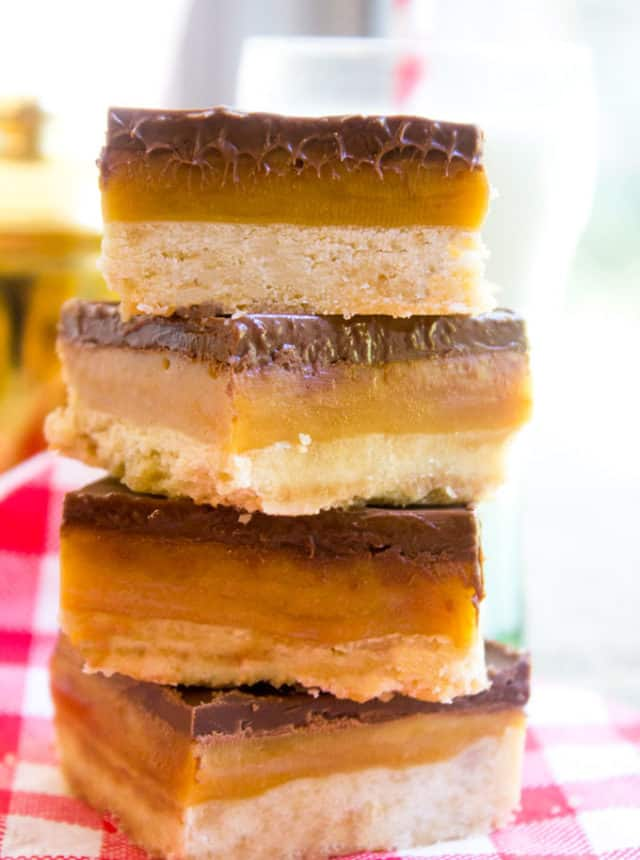 Homemade Twix Bars with a classic shortbread crust, gooey caramel filling and a sweet milk chocolate topping. A perfect homemade candy bar copycat.