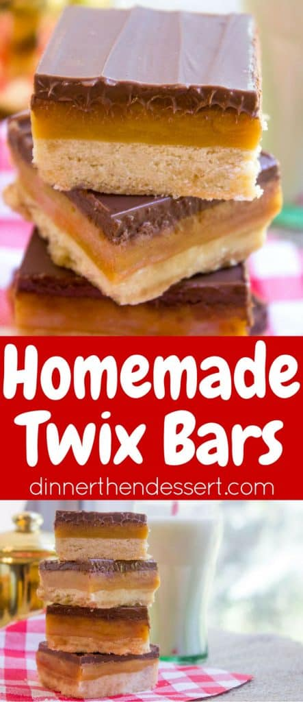 Homemade Twix Bars with a classic shortbread crust, gooey caramel ...