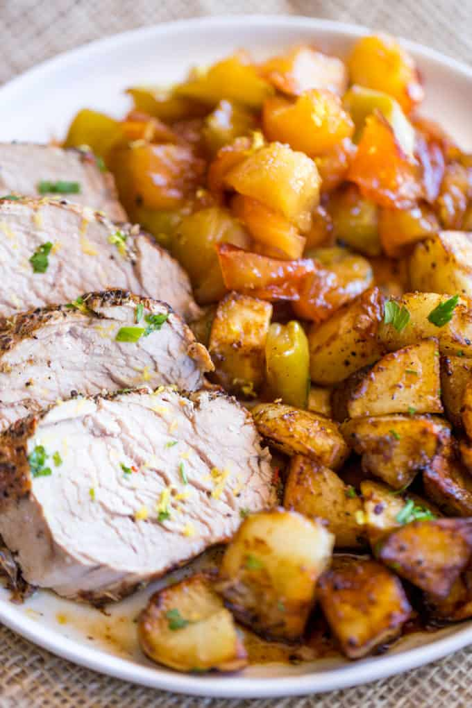 Honey Apple Pork with Potatoes made in a cast iron skillet is the perfect fall meal celebrating honey, apples, roasted potatoes with almost no cleanup and only 7 ingredients.