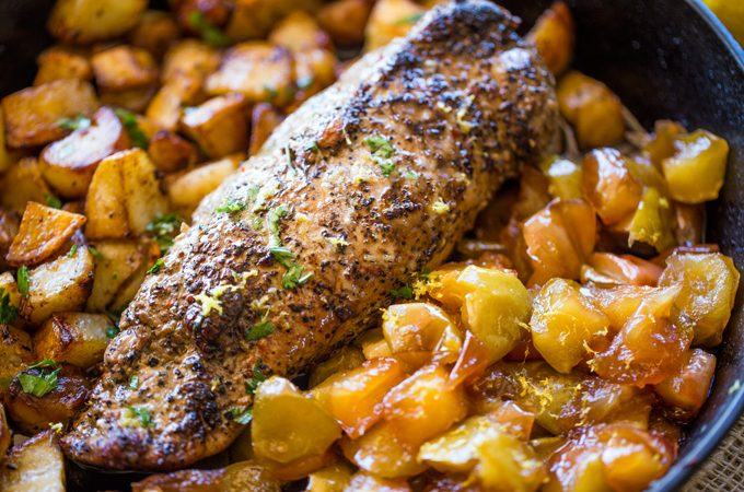 Honey Apple Pork with Potatoes (One Pan!)