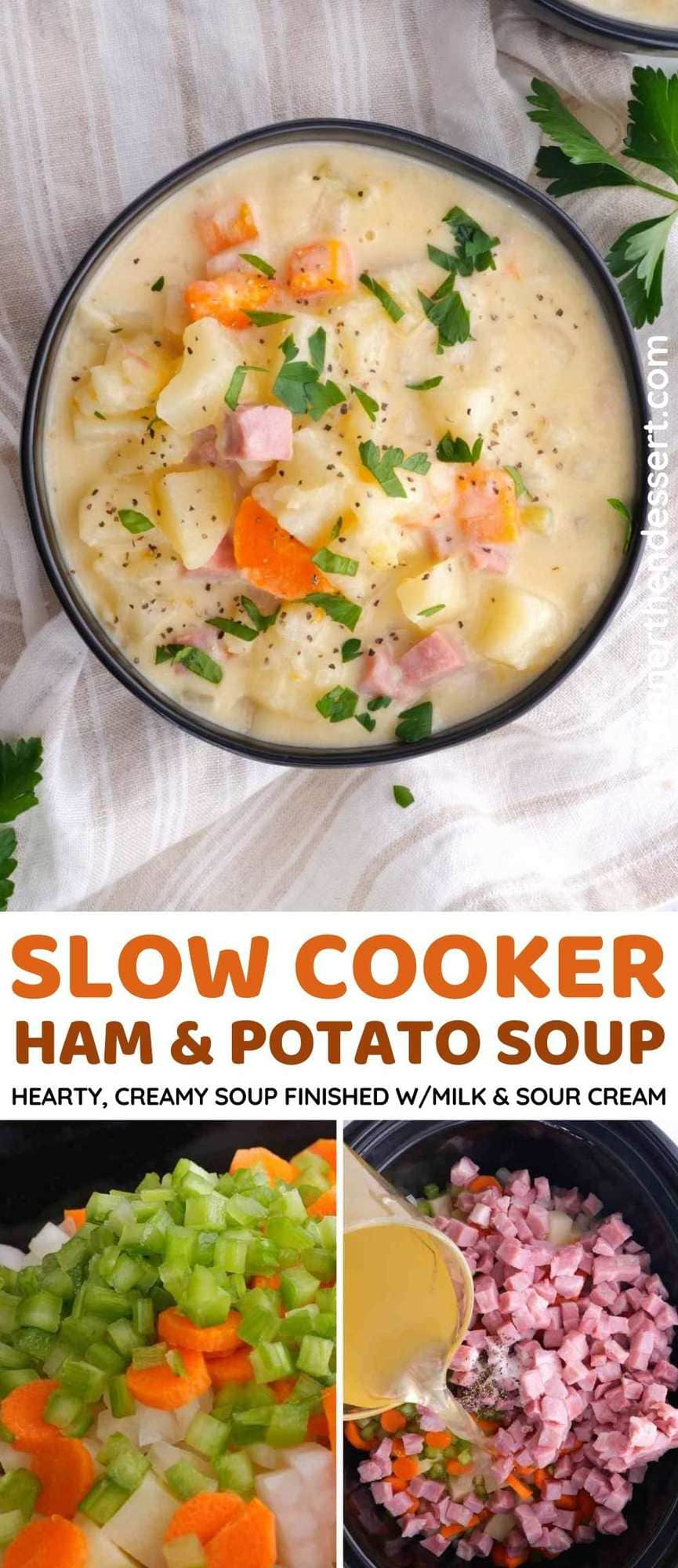 Slow Cooker Ham and Potato Soup Collage