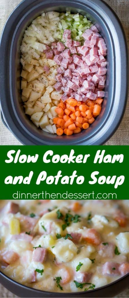 Slow Cooker Ham And Potato Soup That S Creamy Full Of Vegetables And Chunks Of Ham