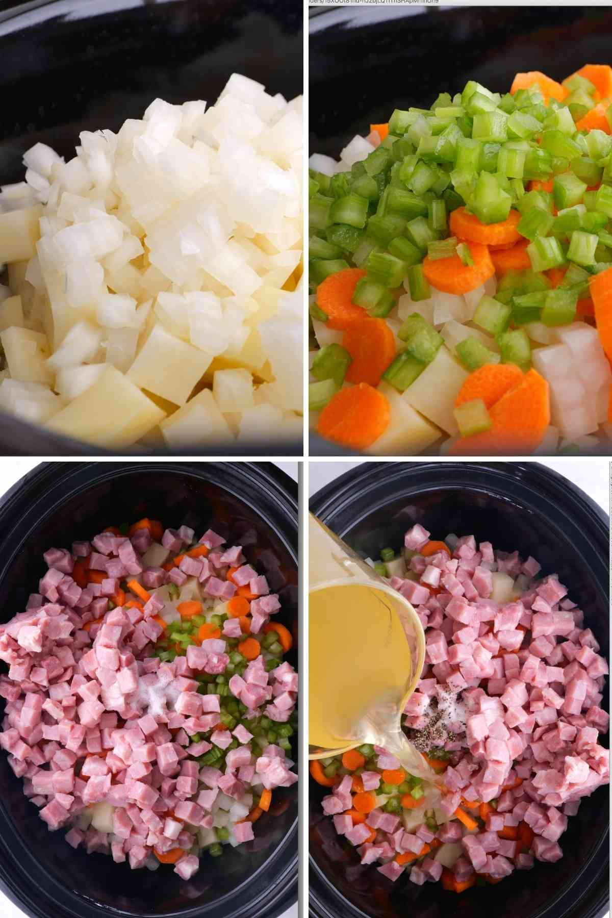 Slow Cooker Ham and Potato Soup collage of prep steps