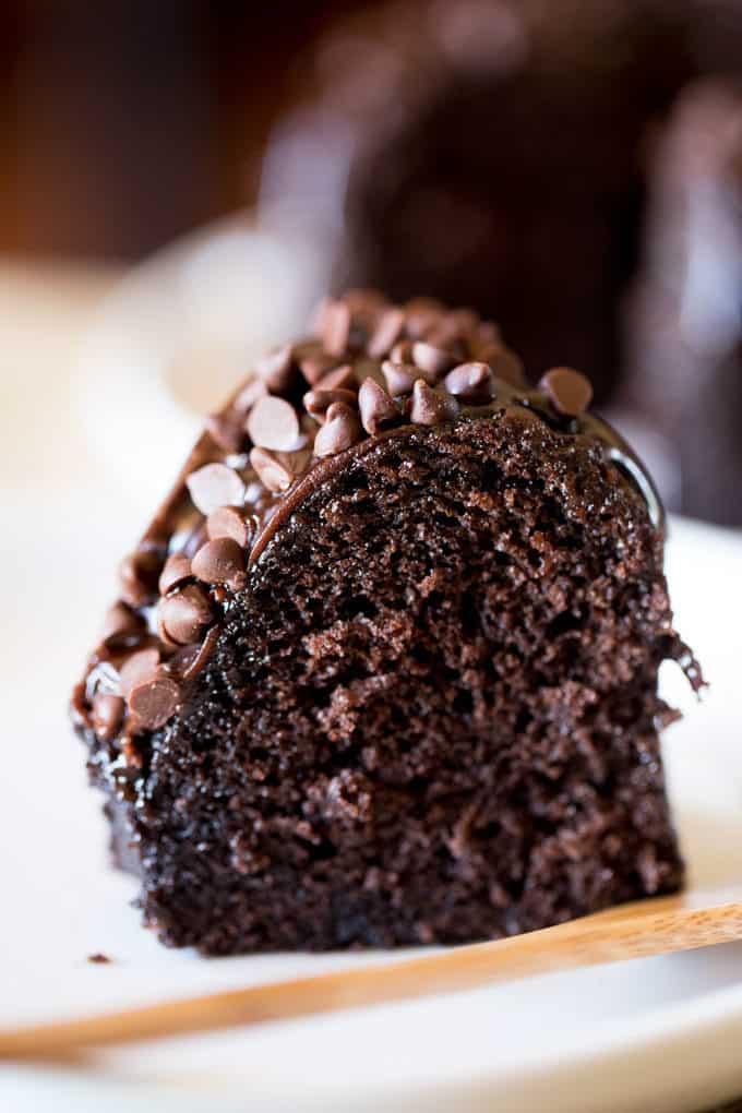 Triple Chocolate Bundt Cake With The Richest Made From Scratch And Covered In A Dark Ganache Extra Chips