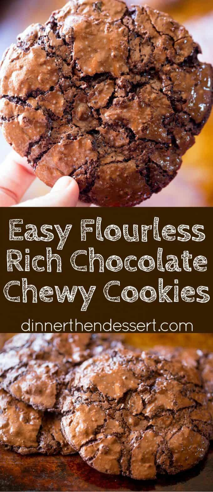 Flourless Chocolate Chewy Cookies collage