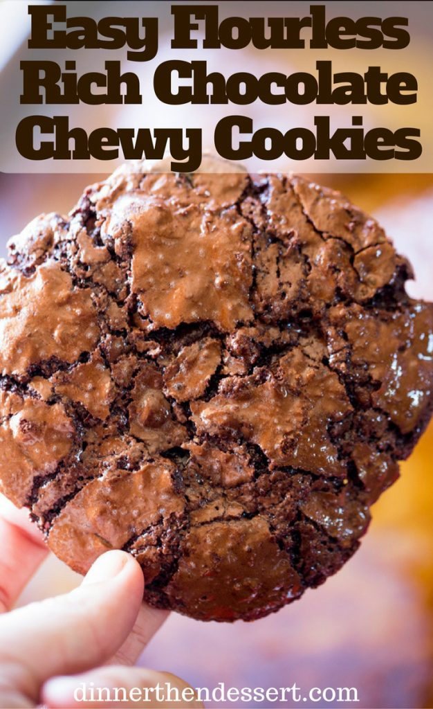 Flourless Chocolate Chewy Cookies are crispy and chewy with a fudgy center that take just a few minutes to make and taste like they came from a bakery!