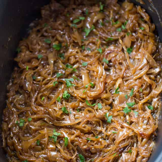 slow cooker caramelized onions in crock pot