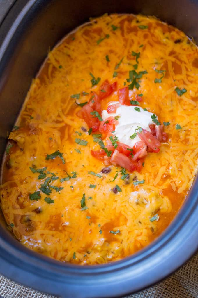 Slow Cooker Chicken Enchilada Dip takes just five minutes of prep with raw chicken, enchilada sauce and veggies topped with a bunch of deliciously melty cheddar cheese.Slow Cooker Chicken Enchilada Dip takes just five minutes of prep with raw chicken, enchilada sauce and veggies topped with a bunch of deliciously melty cheddar cheese.
