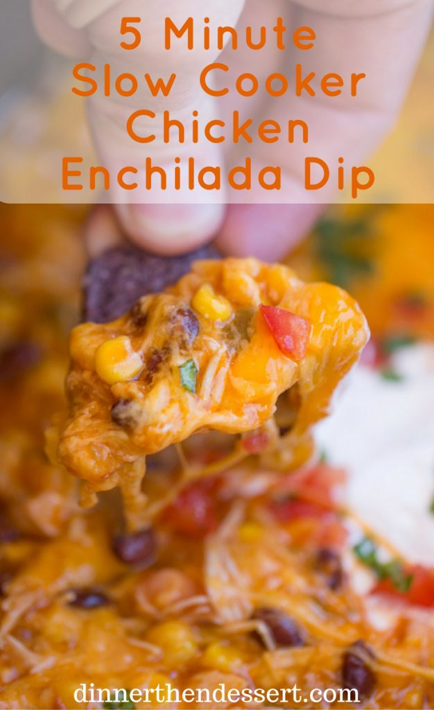 Slow Cooker Chicken Enchilada Dip takes just five minutes of prep with raw chicken, enchilada sauce and veggies topped with a bunch of deliciously melty cheddar cheese.