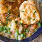 Slow Cooker Crispy Chicken Pot Pie with crispy chicken thighs and all your favorite pot pie vegetables cooked together to make a thick and creamy side dish to the chicken.