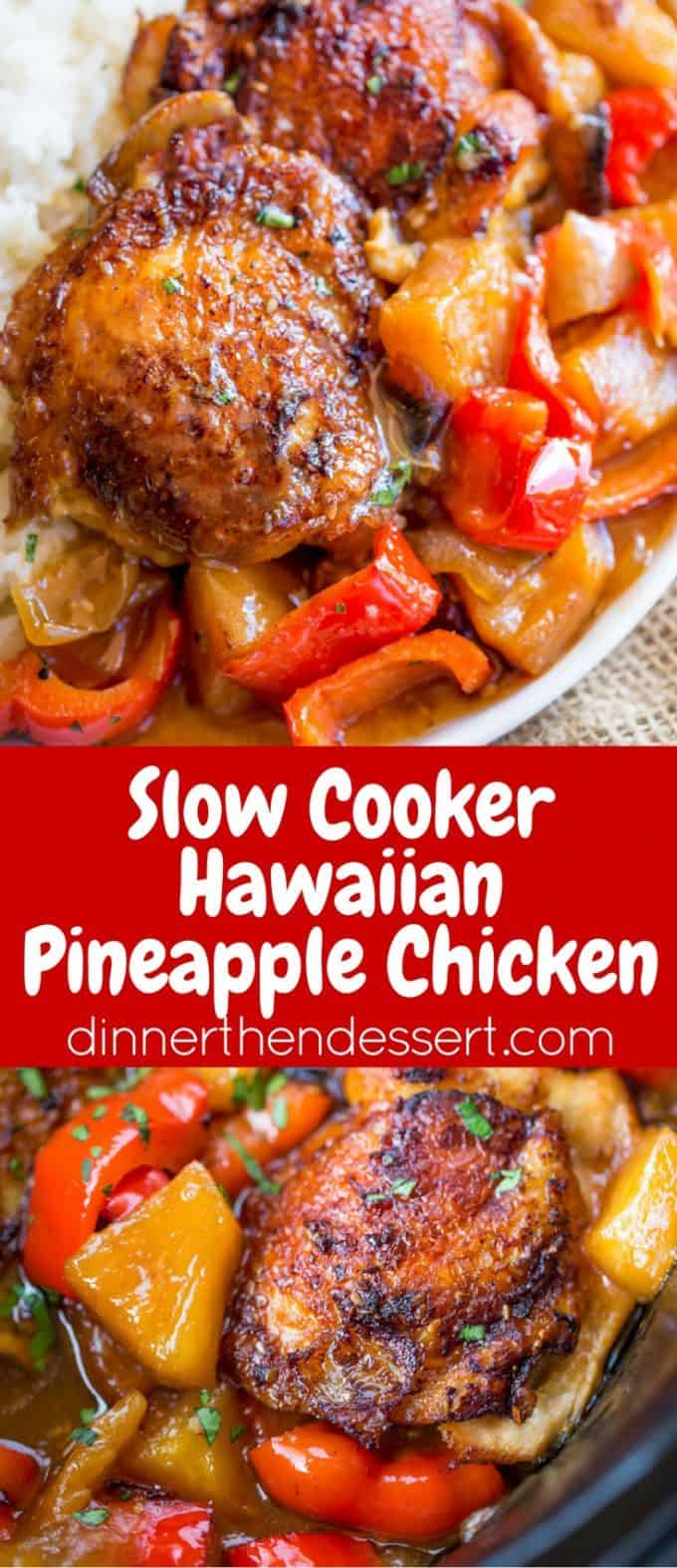 Slow Cooker Hawaiian Pineapple Chicken collage