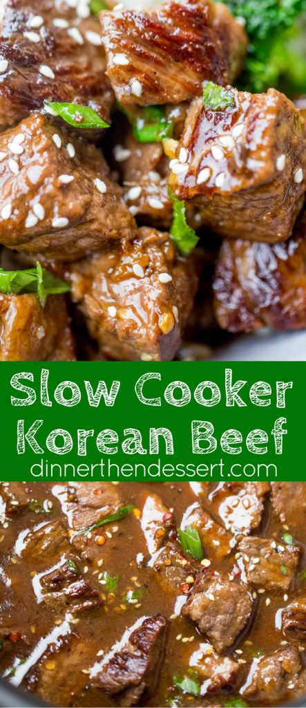 Slow Cooker Korean Beef with just 10 minutes of prep makes the easiest weeknight meal with so much flavor from the garlic, ginger and sesame oil.