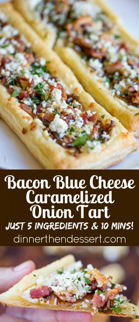 Bacon Blue Cheese Caramelized Onion Tart with just five ingredients ...