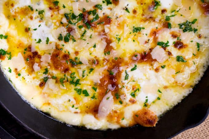 Baked Fontina Cheese Dip inspired by Ina Garten with garlic and thyme amped up with the addition of fresh mozzarella and Parmesan is the perfect appetizer.