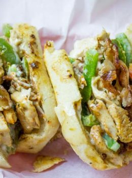 Chicken Madness Philly Sub Sandwiches are a Georgetown University tradition and an amazing alternative to your classic Philly cheesesteak sandwich with peppers, onions, bacon, garlic and hot peppers.