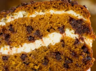 Chocolate Chip Pumpkin Cream Cheese Bread is all the comforts of pumpkin cake, chocolate and cheesecake all rolled into one delicious pound cake.