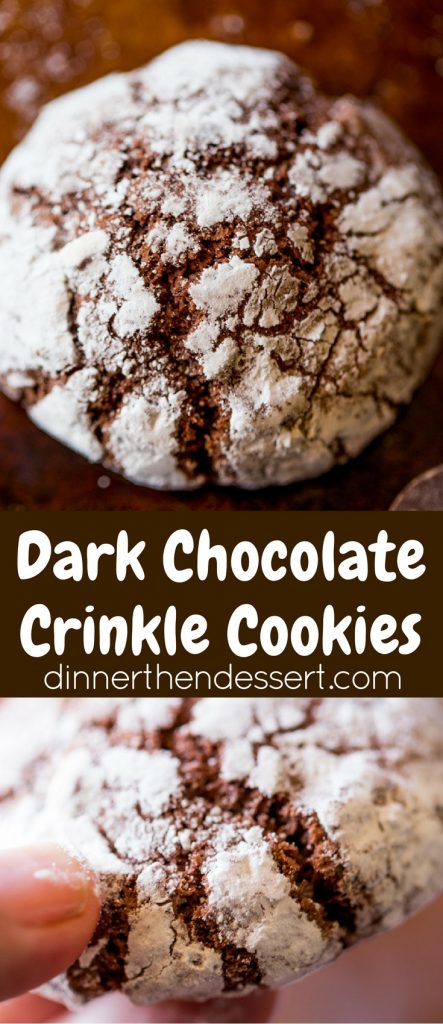 Dark Chocolate Crinkle Cookies are a holiday classic made with cocoa powder and melted dark chocolate are the chewiest and fudgiest cookies you'll make for your Christmas exchange this year!