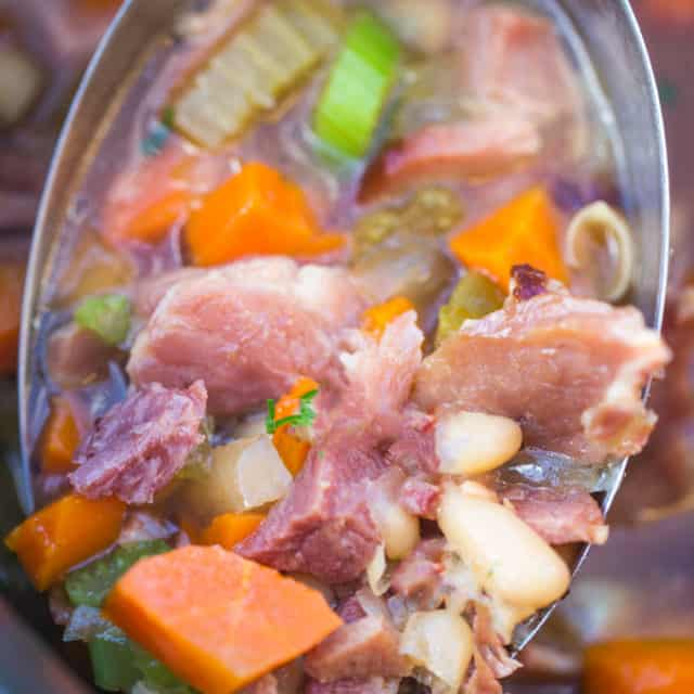 Slow Cooker Ham and White Bean Soup is the perfect recipe to make after you've enjoyed your holiday ham and want a cozy warm soup to help you recover from all the holiday cooking you just survived!