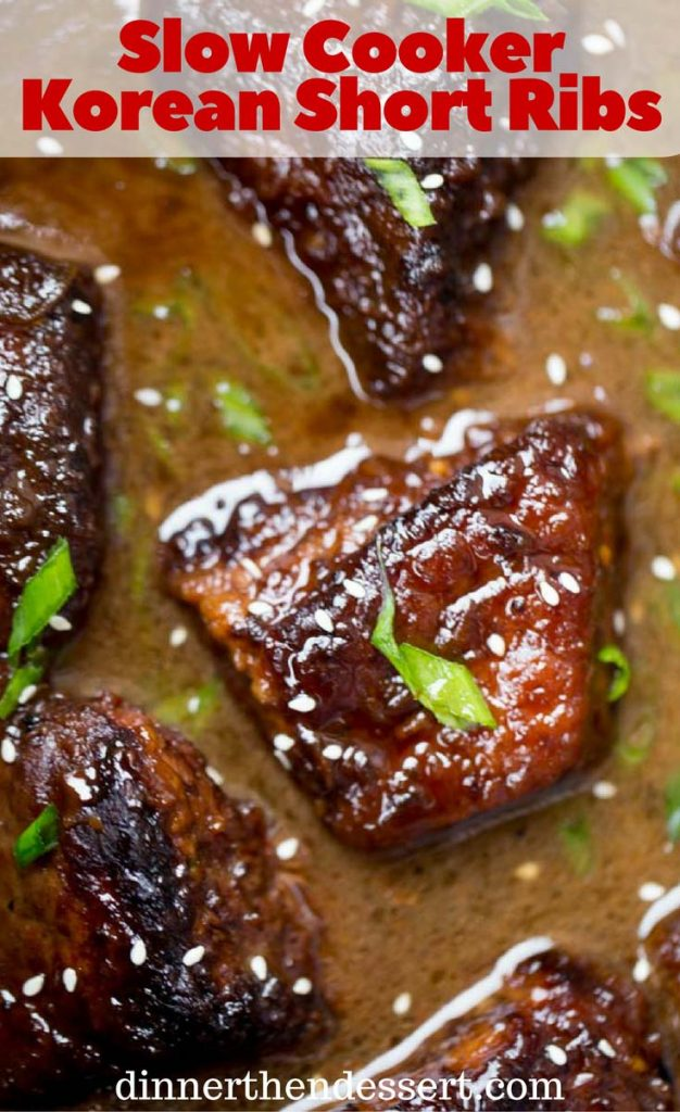 Slow Cooker Korean Short Ribs browned and cooked until fork tender with just a few minutes of prep work and all your favorite flavors.