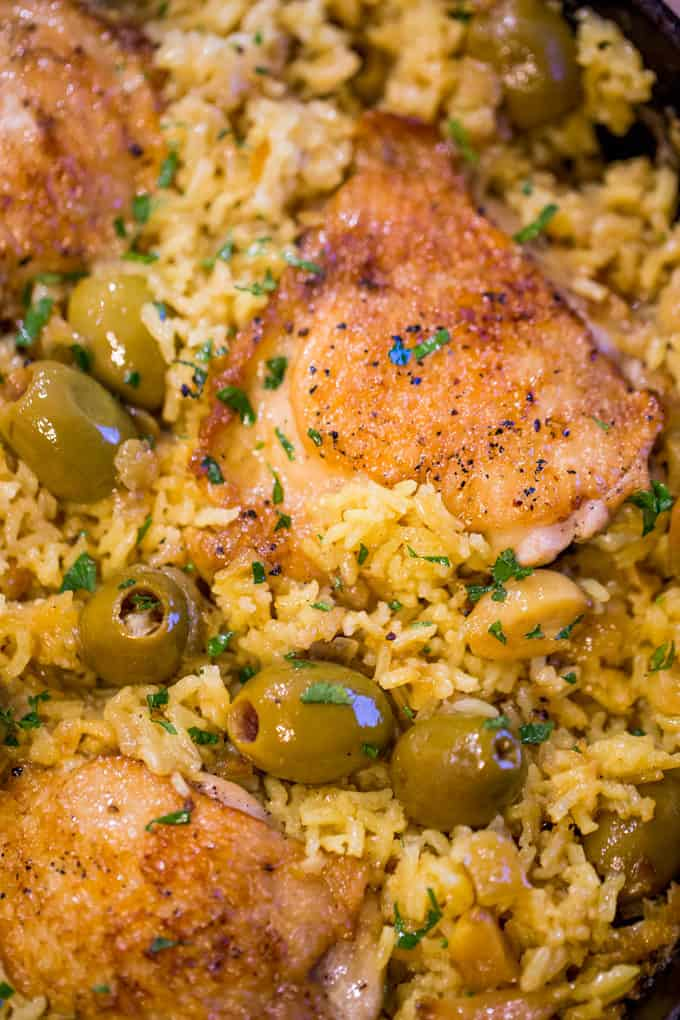 Spanish Olives Chicken And Rice One Pan Dinner Then Dessert