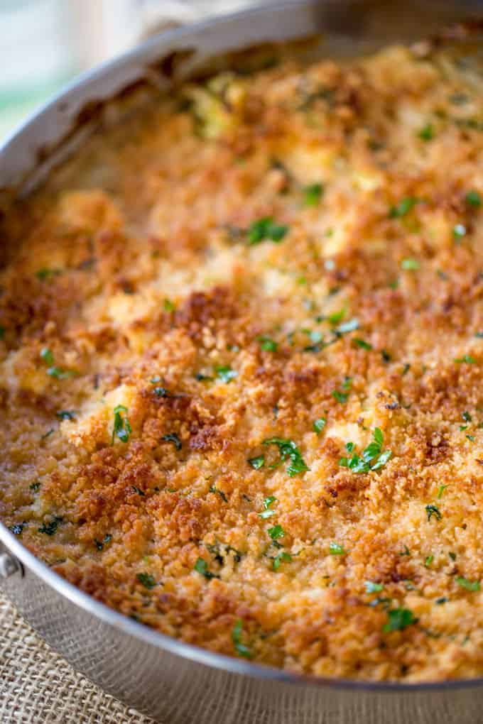 Cheesy Chicken Broccoli Casserole with crispy browned topping