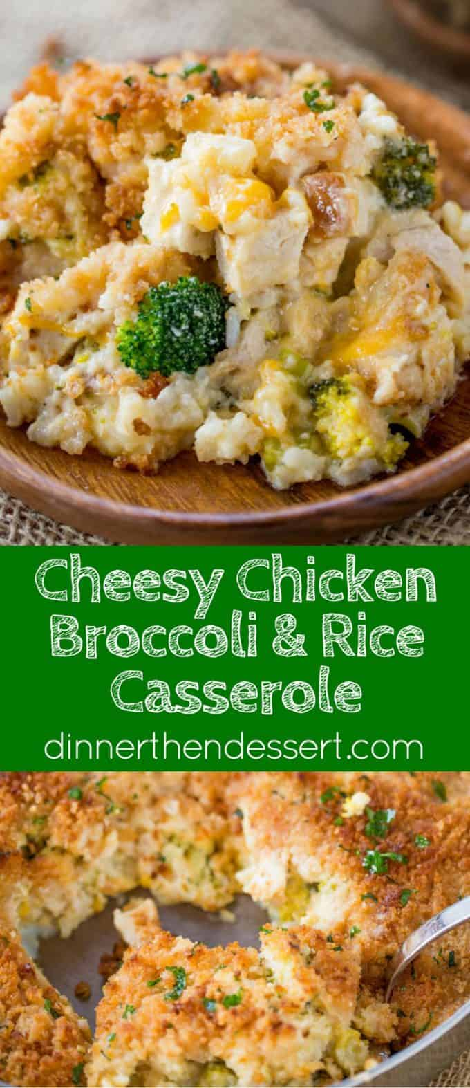 Cheesy Chicken Broccoli Rice Casserole with no canned products is the perfect one pan meal with a creamy sauce and crispy topping your whole family will enjoy.