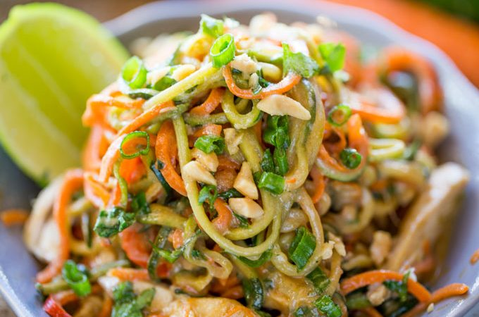 Healthy Thai Peanut Chicken Zucchini Noodles