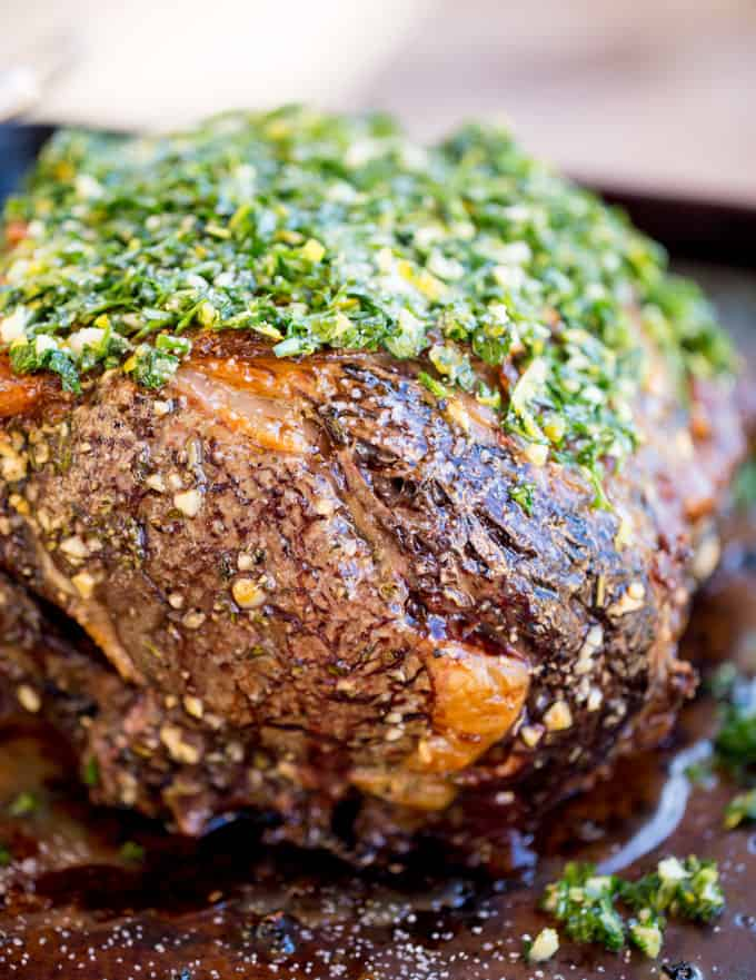 prime rib seasoning including garlic, thyme, rosemary and Gremolata