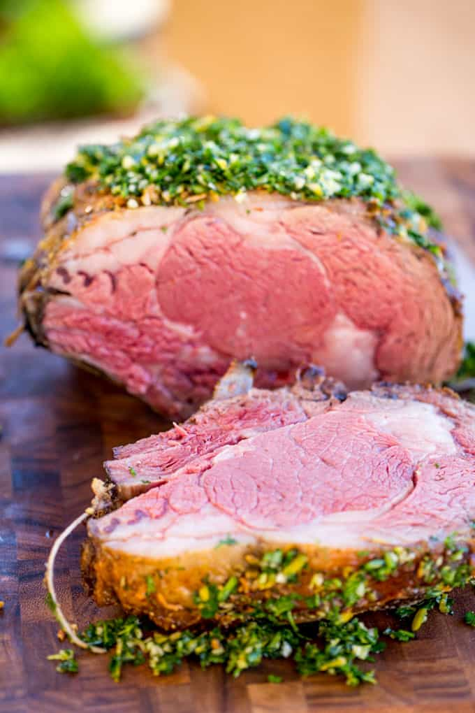 Christmas Prime Rib made with a garlic, thyme and rosemary crust