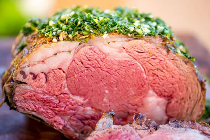Garlic Prime Rib that has been perfectly cooked and seasoned