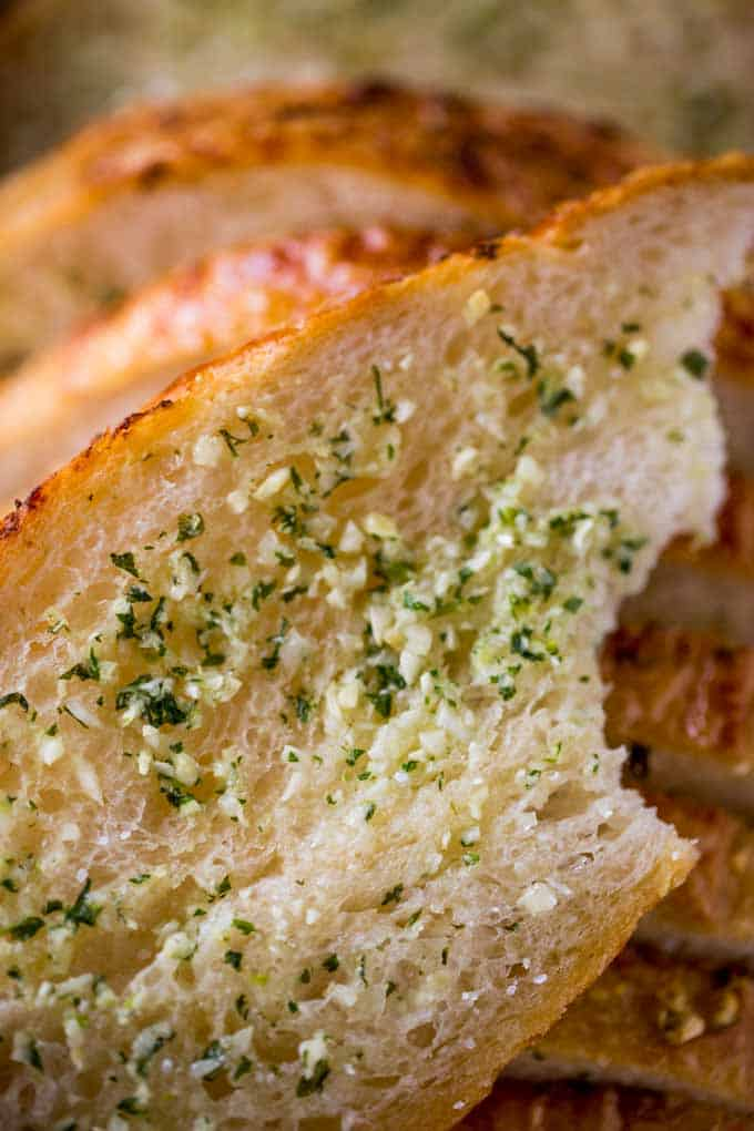 How to make Garlic Bread with homemade garlic bread spread and pre-sliced bread