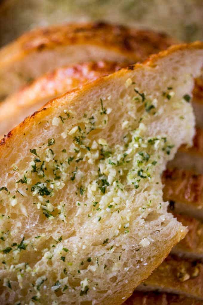 How to make Garlic Bread with homemade garlic bread spread and pre-sliced bread