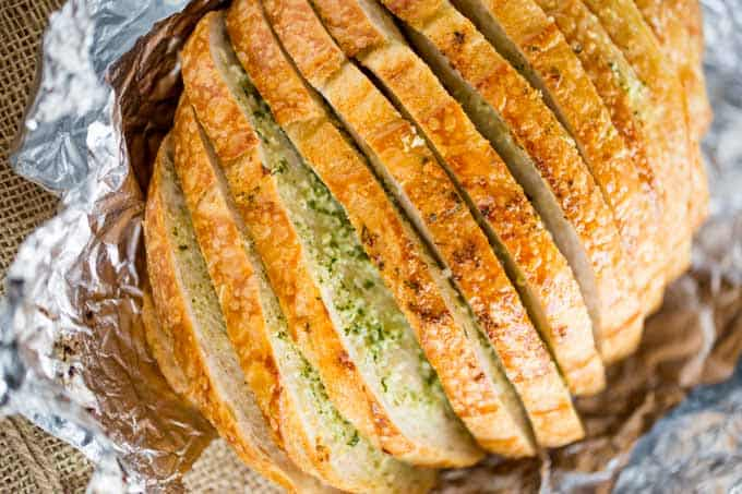 Garlic Bread Loaf made in just minutes from pre-sliced bread