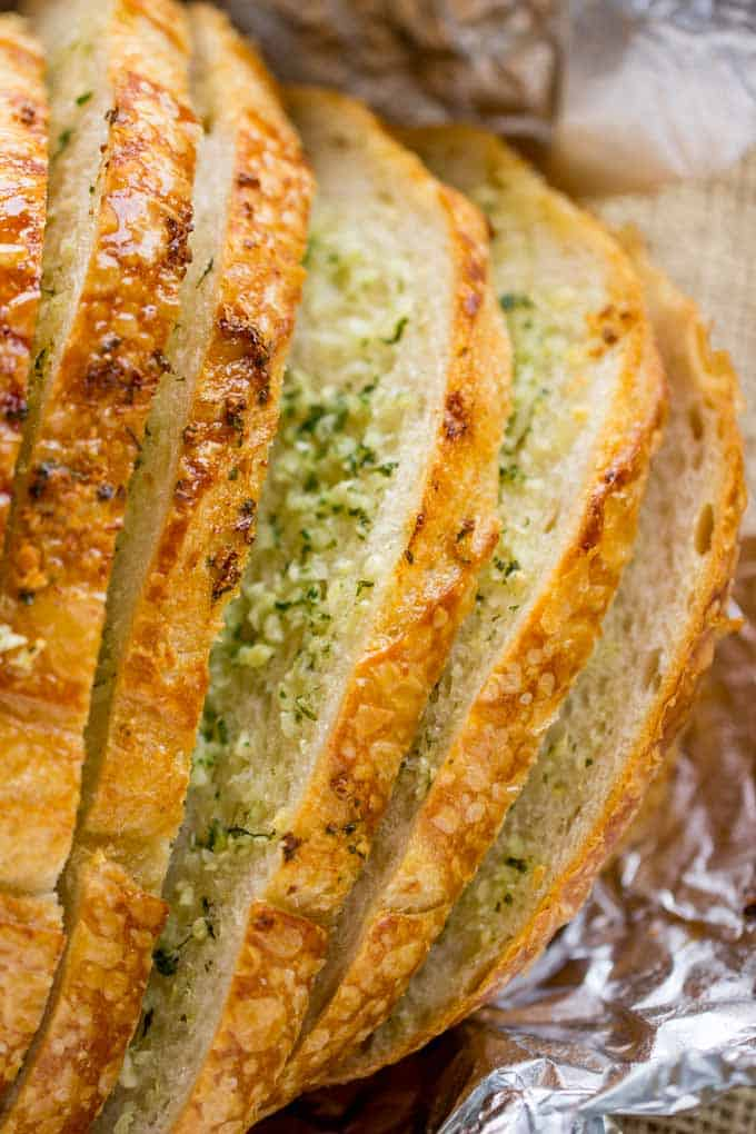 Garlic Bread Loaf made with a pre-sliced loaf of bread