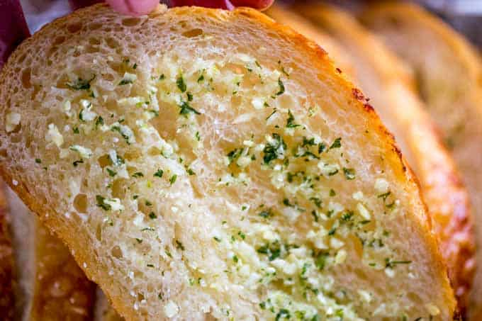 Homemade Garlic Bread toasted in oven