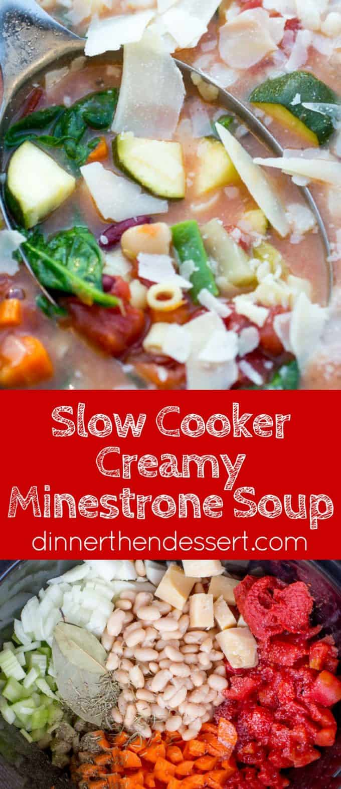 Slow Cooker Creamy Minestrone Soup is the perfect warm you up meal you'll enjoy through the winter months that is healthy and hearty and made with no cream!