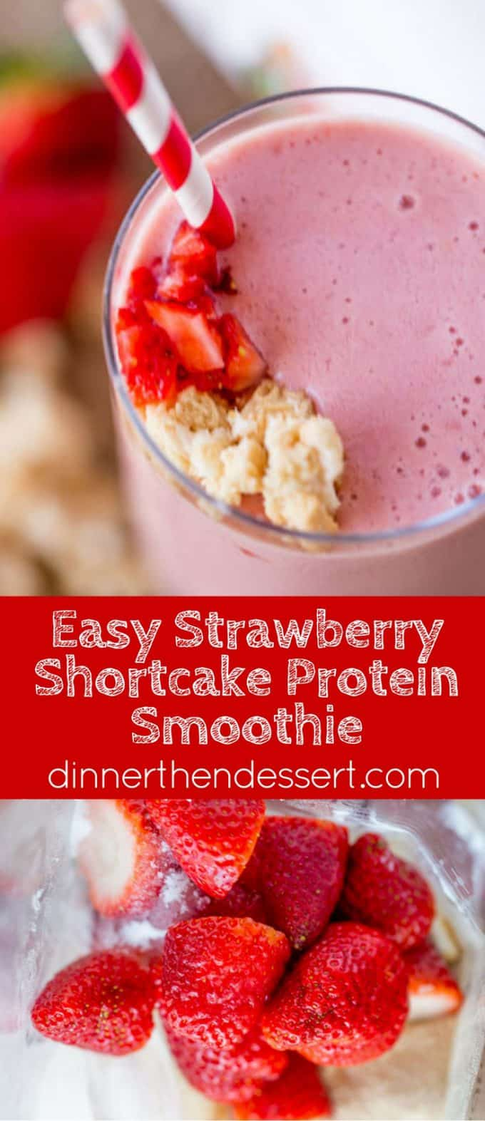 Strawberry Shortcake Smoothie made with Burt's Bees Vanilla Protein Shake powder makes the most amazing cake-y healthy smoothie you'll want to help shake up healthier eating.