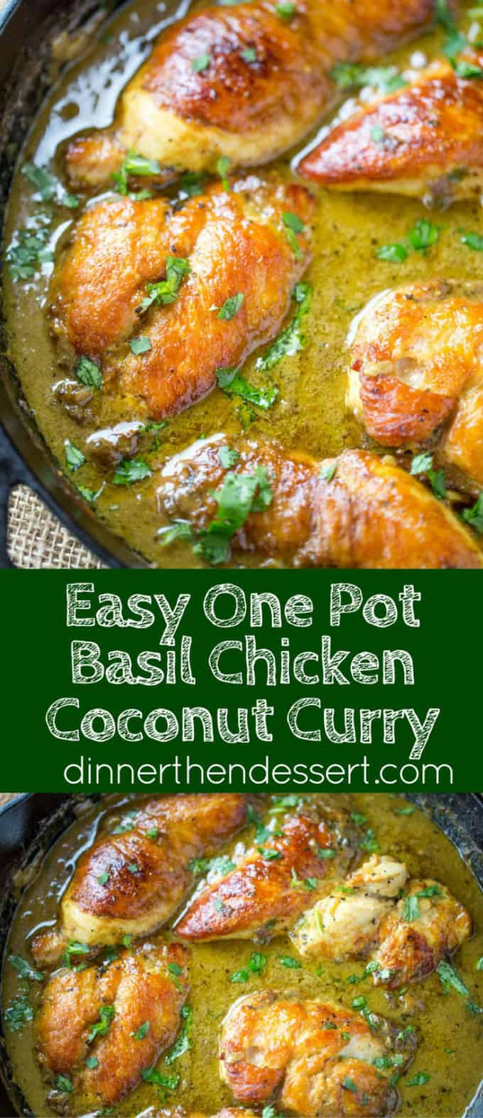 One Pot Basil Chicken Coconut Curry collage