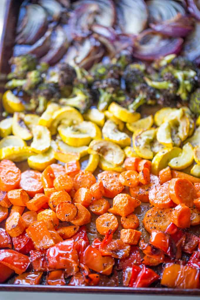 Rainbow Roasted Vegetables are the perfect way to enjoy eating healthy, colorful vegetables for adults and kids! Makes a perfect side for quick meals or dinner parties where you want to impress!
