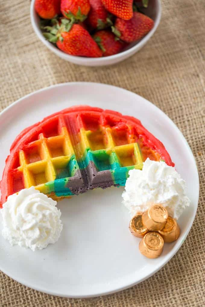 Belgian Rainbow Waffles - Dinner, then Dessert
