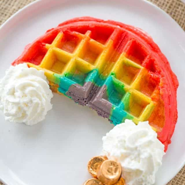Belgian Rainbow Waffles will make your St. Patrick's Day Breakfast a hit with homemade Belgian waffles turned into beautiful rainbows with a pot o' gold.