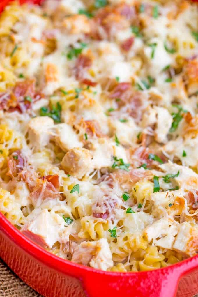 Chicken Bacon Ranch Pasta Bake is an easy casserole with creamy alfredo sauce with ranch flavors, chicken, bacon and pasta all baked together for a perfect weeknight meal.