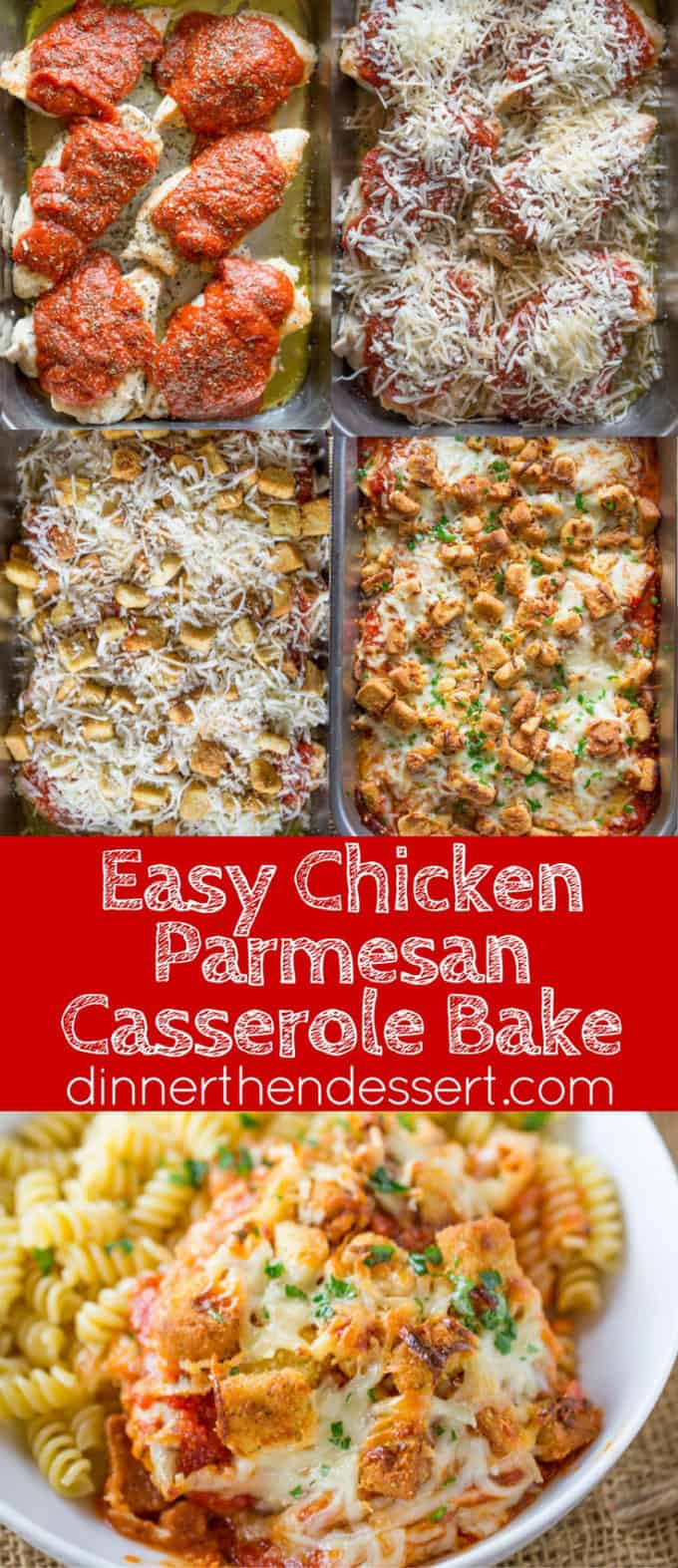 Chicken Parmesan Casserole is a quick weeknight meal that is ready to bake in ten minutes with mozzarella, Parmesan, tomato sauce and a crouton crunch topping for the perfect Chicken Parmesan flavor!